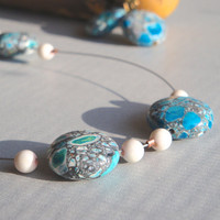 Contemporary Wire Crackled Turquoise Beaded Necklace Set