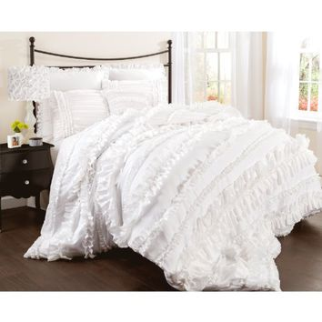 Lush Decor Belle 4-Piece Comforter Set, Queen, White