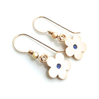 Gold Flower Earring, 5th Anniversary, Blue Sapphire, September Birthstone, Small, Girls Gold Earrings