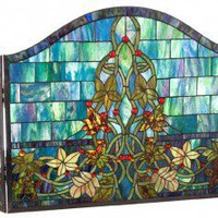 Chloe Lighting Tiffany Style Floral Castle Wall Fireplace Screen - CH48B592FS - Fireplaces & Accessories - Decor