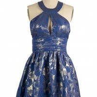Blue Party Dress - Blue and Gold Floral Halter | UsTrendy