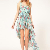 Multi Floral Dress - Bqueen Floral  Chiffon  Dress BY108L | UsTrendy