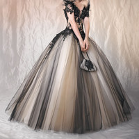 Sexy Black Lace Quinceanera Dress Prom Ball Gown Wedding Bridal Dresses Size +