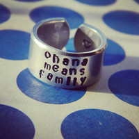 the original Ohana means family aluminum cuff 3/8 heart inside