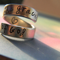 By the grace of God heart cross hand stamped inside aluminum spiral ring