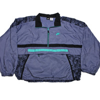 Vintage 90s Nike Purple/Black/Teal Windbreaker Jacket Mens Size XL