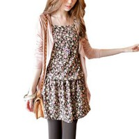 Allegra K Women Flower Strap Elastic Waist Strap Dress w Pink Coat Print XS