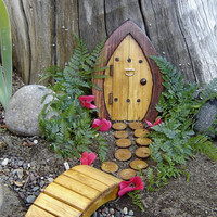 "Miniature Garden, Fairy Door, Gnome Door, Hobbit Door, Elf Door, Troll Door. 7"" tall Forest door garden kit."