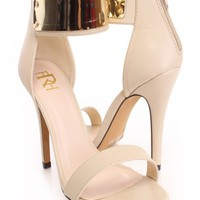 Nude High Polish Single Sole Heels Faux Leather
