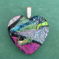 Colorful Dichroic Heart, Heart Pendant, Valentines Jewelry, Valentines Gift - Scrumptious - 4616 -4