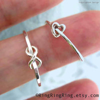 2 rings Tiny heart & Infinity rings 925 sterling by RingRingRing
