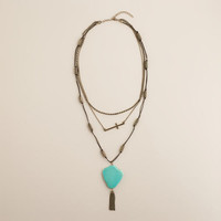 Gold, Turquoise and Cross Multi-Layer Necklace - World Market