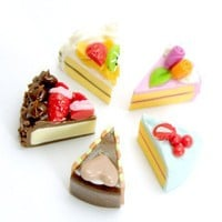 Mini Slice Cake, set of 5 pieces | minihandmade - Dolls & Miniatures on ArtFire