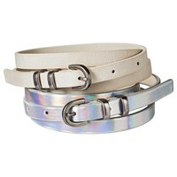Mossimo Supply Co. Two Pack Skinny Belt - White/Holographic