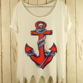Multi Short Sleeve Top - Short Sleeve Anchor Print Shear | UsTrendy