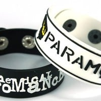 My Chemical Romance And Paramore New 2Pcs(2X) Rubber Bracelet Wristband Ww98 Danger Days