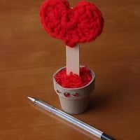 Valentine's Heart in a Pot, Decoration, Crochet Red Heart