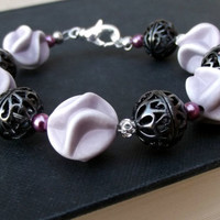 Purple and Black Beaded Bracelet: Radiant Orchid Lavender Chunky Bracelet, Gothic Jewelry