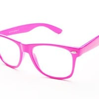 New Bright Summer Party Geek Nerd Hip Clear Lens Frames Wayfarer Glasses (Pink)