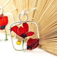 Red Poppies Silver Earrings Red Earrings by KUKLAstudio on Etsy