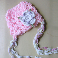 Baby Girl Hat Newborn Baby Girl Crochet Hat by KiddieKapsbyDebra