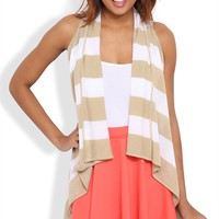 striped sleeveless open front cozy
