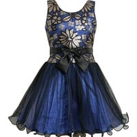 Bonnie Jean Collection Blue Sequin Lame Special Occasion Dress