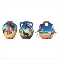Ceramic Southwest Mini-Vases (Set of 3) - Style 34235