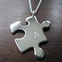 Initial Puzzle Piece Silver Pendant Necklace by GorjessJewellery