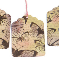 Butterfly Tags - Hand Stained Gift Tags - Pack of 6 - Hang Tags - Price Tags