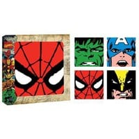 Silver Buffalo MC0354CS1 Marvel 4-Inch Glass Coasters, Multi-Color, Set of 4