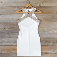 Aura Quartz Party Dress in White