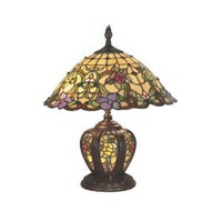 Dale Tiffany TT60739 Lakeport Table Lamp, Antique Bronze and Art Glass Shade