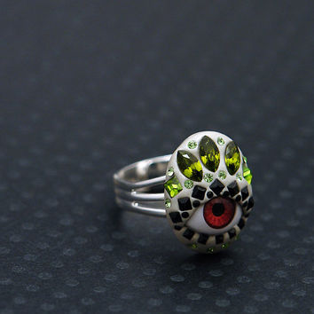 Tribal red eye ring with Swarovski in olivine green, black, and peridot. OOAK and adjustable - brown eye ring - evil eye ring - talisman