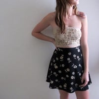 Vintage Floral Print Mini Skirt Black Flowers High Waist Waisted Sheer Thin Light Knee Length Short Grunge Style Bohemian
