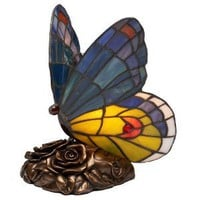 Quoizel Blue Butterfly Tiffany 1 Light Accent Lamp