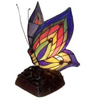 Tiffany Style Handcrafted Stained Glass Made of Yellow Butterfly Accent Lamp