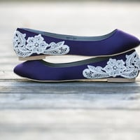 Purple Flats - Purple Wedding Shoes/Purple Wedding Flats with Ivory Lace. US Size 8.