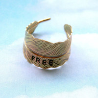 Gold feather handstamped free