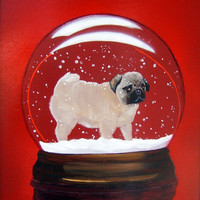"Pug Dog Art Print/""Shake, Shake, Shake""/Snow Globe/by Original M. Holzer"