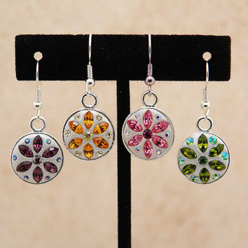 Custom Swarovski Crystal Earrings - Perfect for bridesmaid earrings - Choose your color pink blue green yellow red aqua - bridesmaids gifts