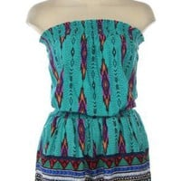 AZTEC PRINT TUBE TOP ROMPER