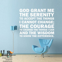 Serenity Prayer - Subway Style Typography - vinyl wall decal sticker wall art