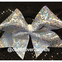 Silver Halographic Cheer Bow