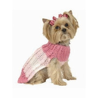 Max's Closet Tri Color Stripe Dog Sweater with Hat in Pink