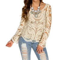 Ivory Crochet Long Sleeve Top