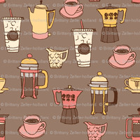 Pink and Percolators - twoifbyseastudios - Spoonflower