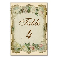 Victorian Roses Cream Wedding Table Card