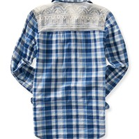 Long Sleeve Lace Plaid Woven Shirt