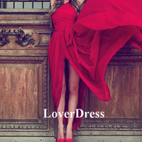 Long Prom Dress with Slit, Front Slit One Shoulder Prom Dress, Prom Dresses 2014, Red Prom Dress, Red Long Prom Dresses, Sexy Prom Dress